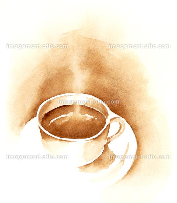 コーヒー 水彩画の販売画像