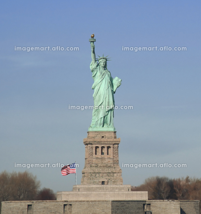 statue of liberty with flagの販売画像