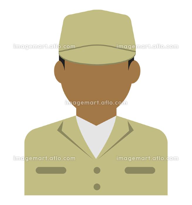 上半身シルエット人物イラスト (アジア人・アラブ人・黒人) / 労働者・作業員・清掃員・軍人の販売画像