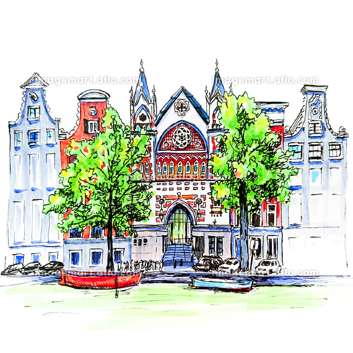 City view of Amsterdam canal, houses and churchの販売画像