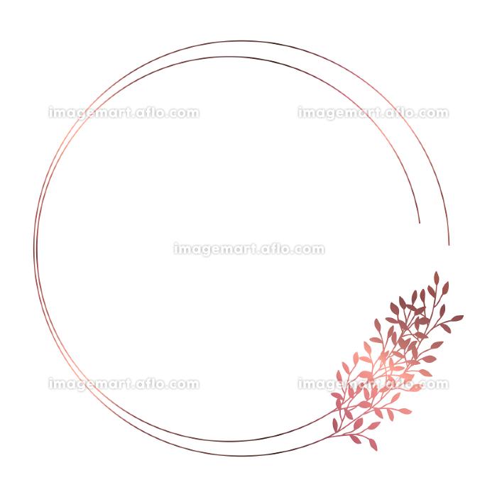 ピンクゴールドの小枝のフレームイラスト 2の販売画像