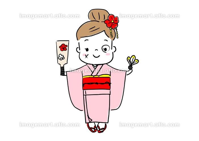 お正月 着物を着て羽子板を遊びで顔に墨を塗の販売画像