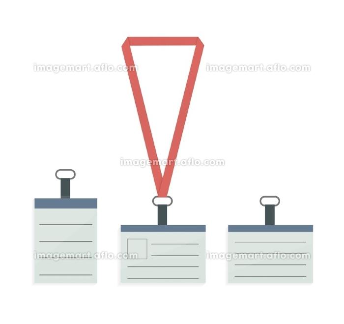 Id badge with lanyard. Set of lanyard and badge. Badge holder. Lanyard, name tag holder end badge, id, template. Lanyard, retractor and badge. Isolated id lanyard badges. Vector illustrationの販売画像