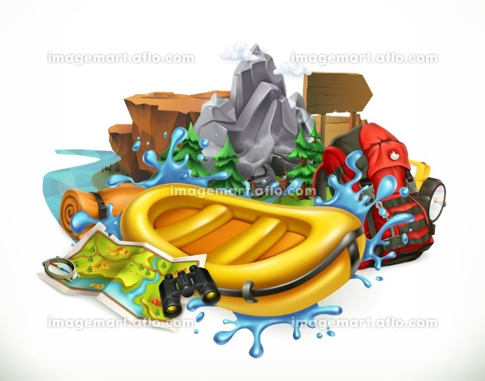 White water rafting. Camping, adventure time vector illustrationの販売画像