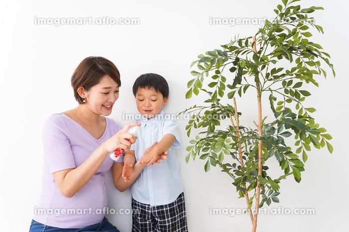 子どもにスプレーをするお母さんの販売画像