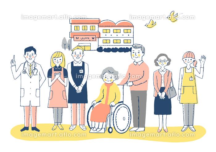 介護施設 車椅子のおばあちゃんと介護スタッフの販売画像