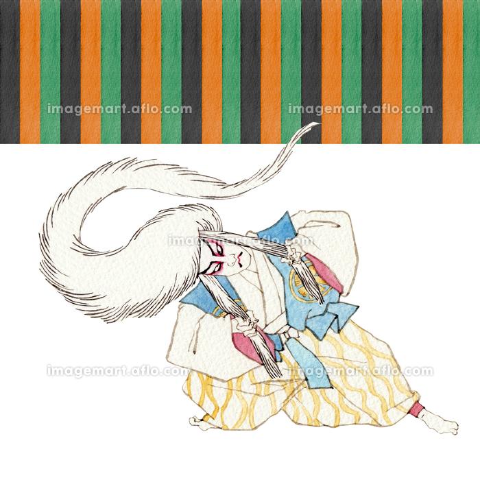 むきみ隈 連獅子 白 歌舞伎 隈取り 水彩 イラストの販売画像