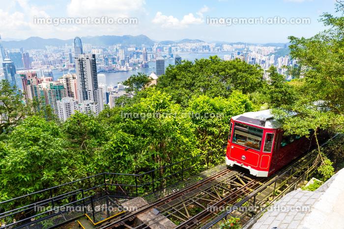 The Victoria Peak Tram and Hong Kong city skylineの販売画像