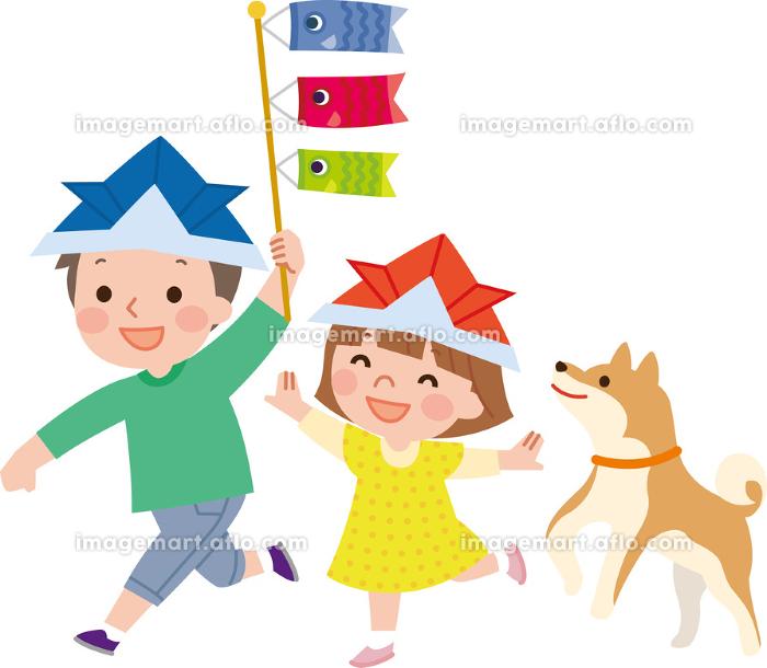 家族 端午の節句 こいのぼりと子供の販売画像