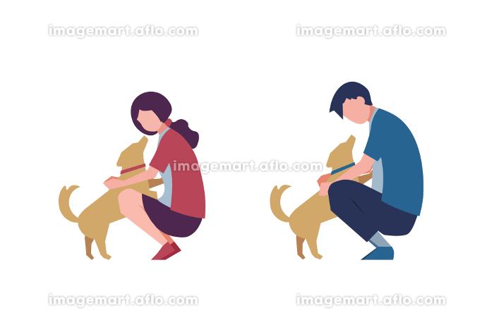 犬と遊ぶ男女のセット 人物フラットイラストの販売画像
