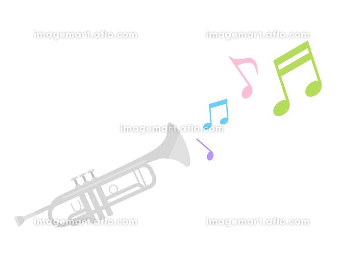 楽器のトランペットを演奏するイラストの販売画像