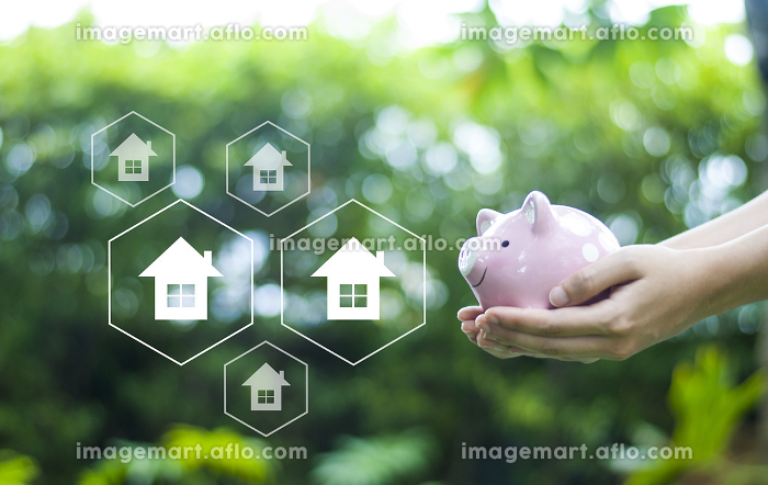 Saving money to buy a house in the future Real estate concept