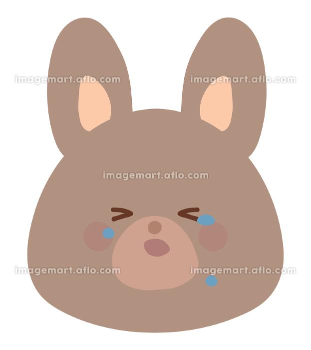 泣くうさぎのイラスト 茶色 線なしの販売画像
