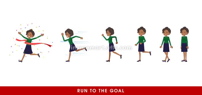 走り出す黒人ビジネス女性のセットの販売画像