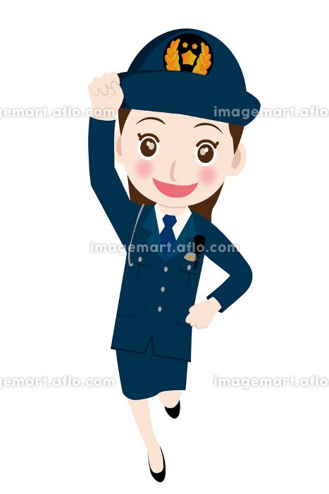 働く人直立敬礼をする制服を着た男女警官婦人警官・警察官・お巡 ...