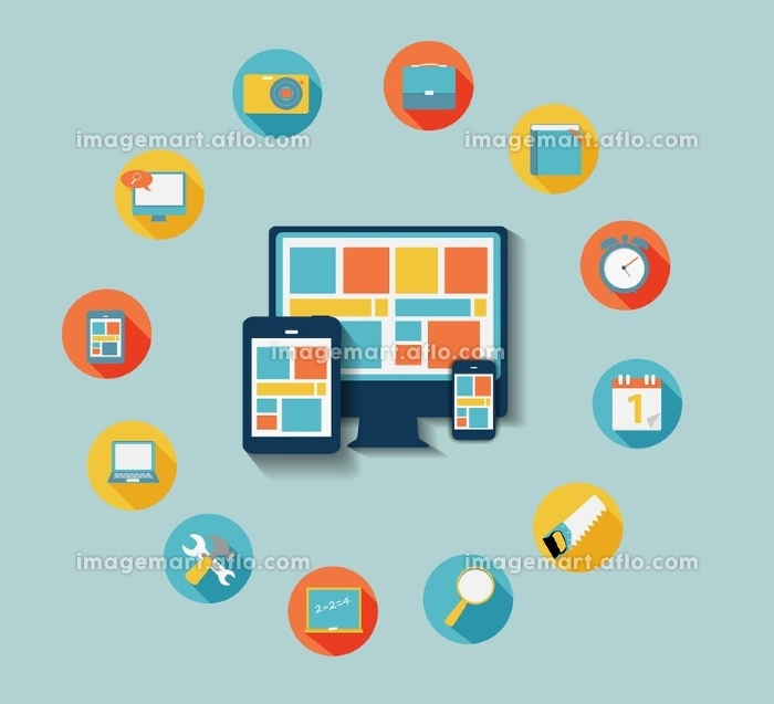 Modern Flat Icon Set for Web and Mobile Application With Computer and Connected Mobile Devices in Stylish Colors Vector illustration