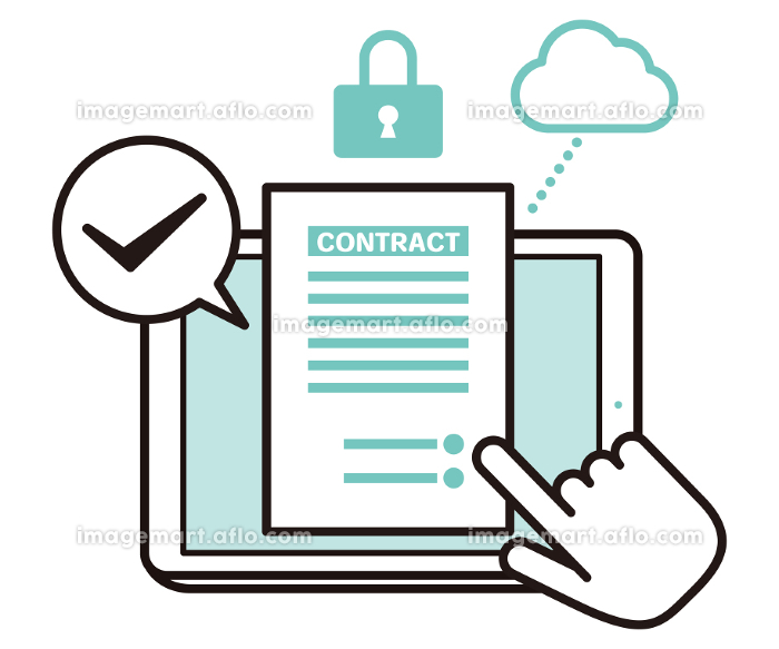 安全性の高いクラウドに繋げたタブレット端末で書類をチェックするイラストの販売画像
