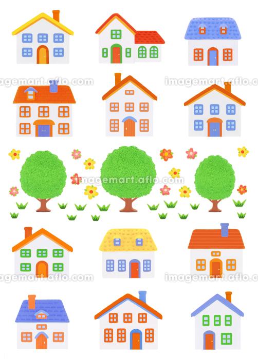 粘土の家12軒と樹木の販売画像