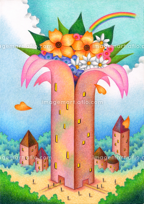 花が咲く建物の販売画像