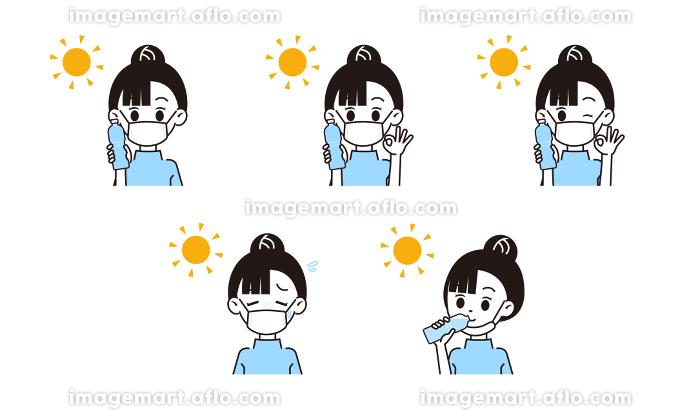 熱中症対策する女性のイラストの販売画像