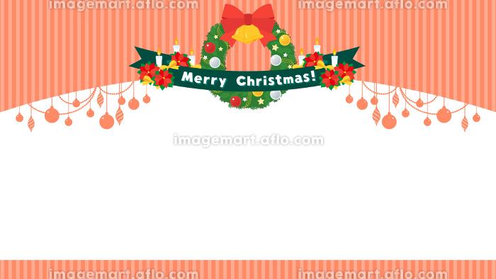 リースとポインセチアのクリスマスフレームの販売画像