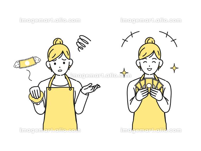 財布とお金を持つ主婦 女性 稼ぐ 金欠 イラスト素材の販売画像