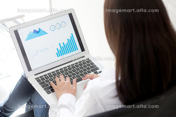 Closeup business woman work with finance analysis and planing da