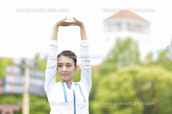 準備運動をする女性の販売画像