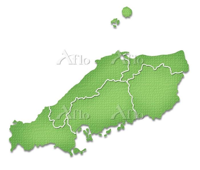ペーパークラフト調の中国地方の地図