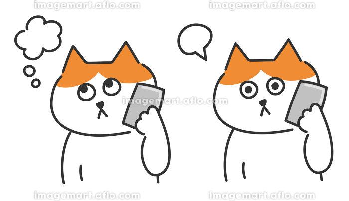 スマートフォンで電話をかける茶白猫 イラストの販売画像