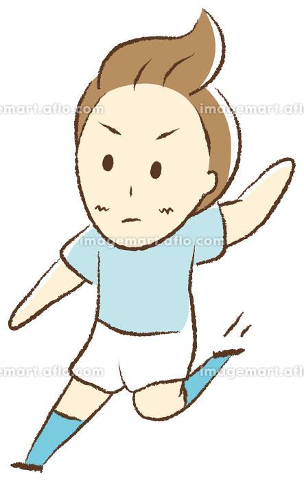 サッカーをする少年 スライディングの販売画像
