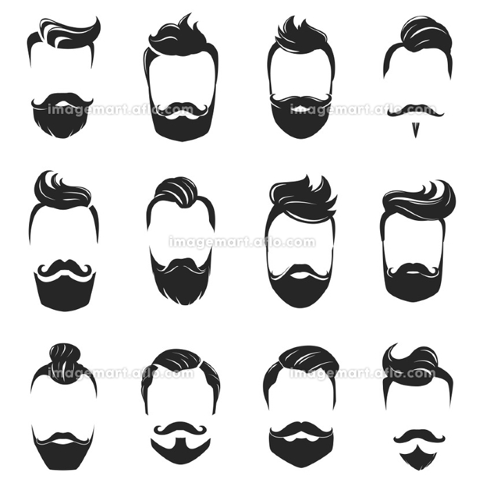 Hairstyles Beard And Hair Monochrome Set. Hipster fashionable beard moustache and hair styles monochrome set isolated on white background flat vector illustration