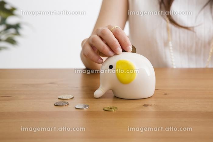 女性と貯金箱