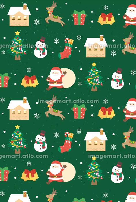 クリスマス シームレスパターン 背景壁紙 緑色の販売画像