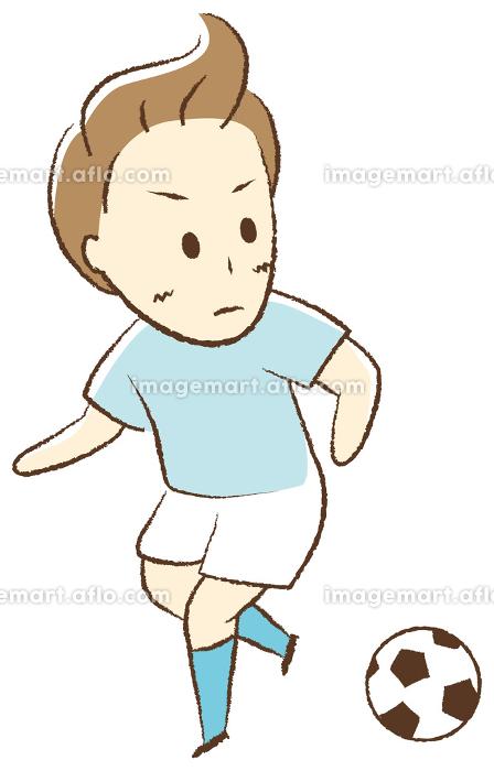 サッカーをする少年 ドリブルの販売画像