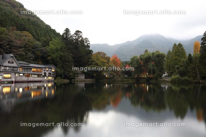 湯布院金鱗湖畔のある秋の日の静かな朝の販売画像