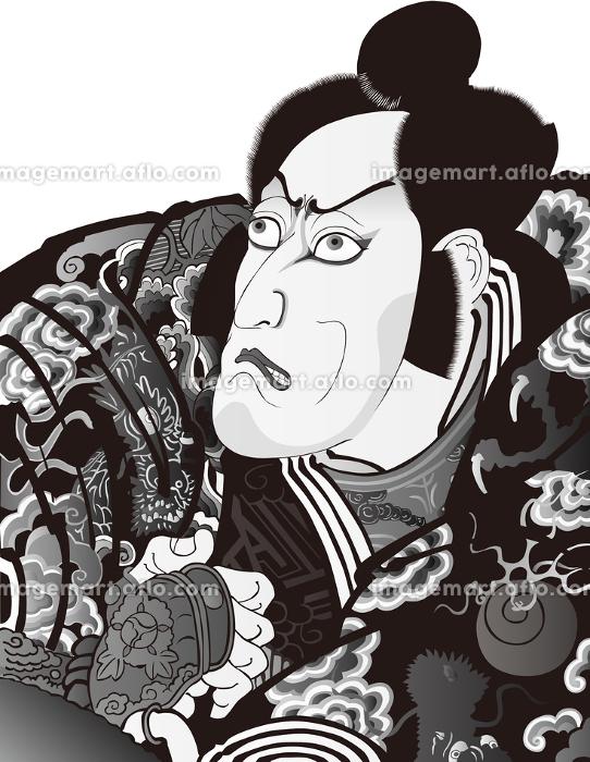 浮世絵 歌舞伎役者 その57 白黒の販売画像