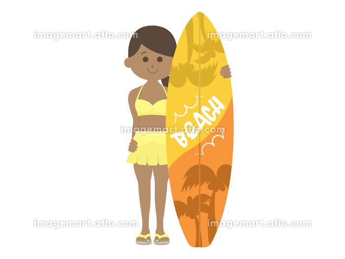 日焼けした女性サーファーのイラストの販売画像