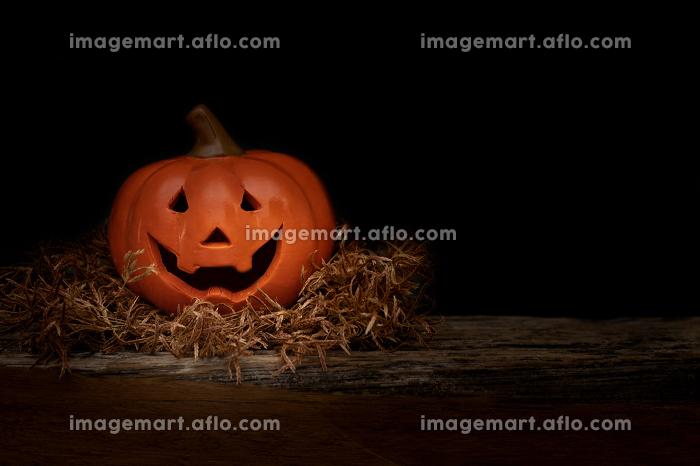 Still life Halloween pumpkin on black background. Halloween concの販売画像