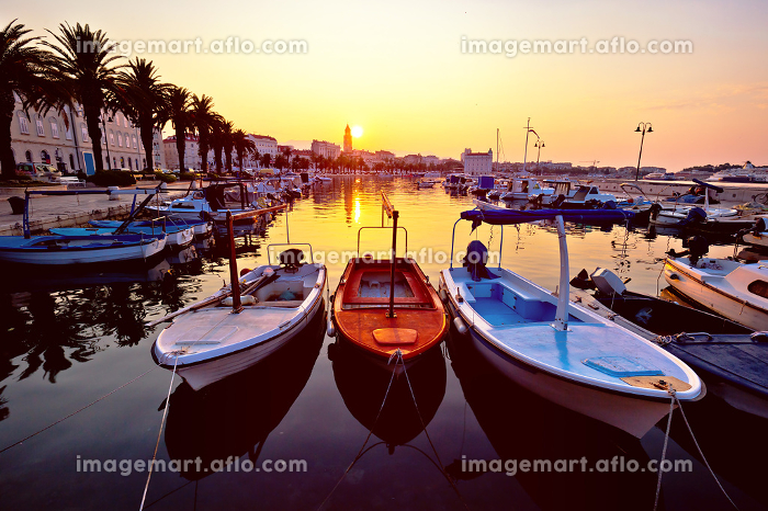 City of Split Riva at sunrise
