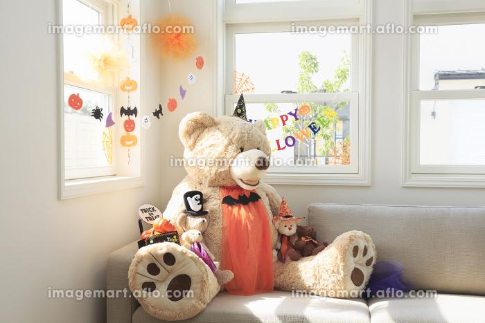 ソファーに座るハロウィンのクマのぬいぐるみの販売画像