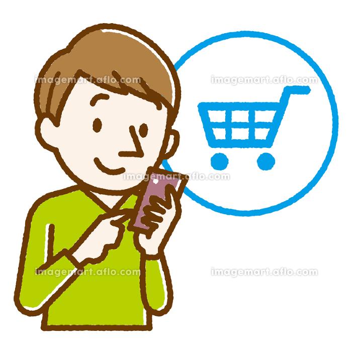 ネットショッピング 男性 手描き風の販売画像
