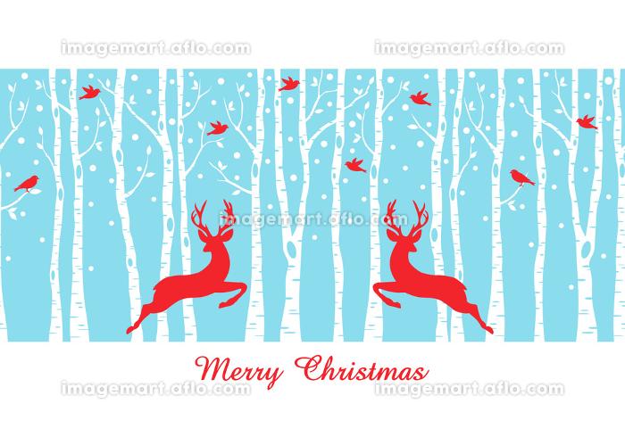 Christmas deers in birch tree forest