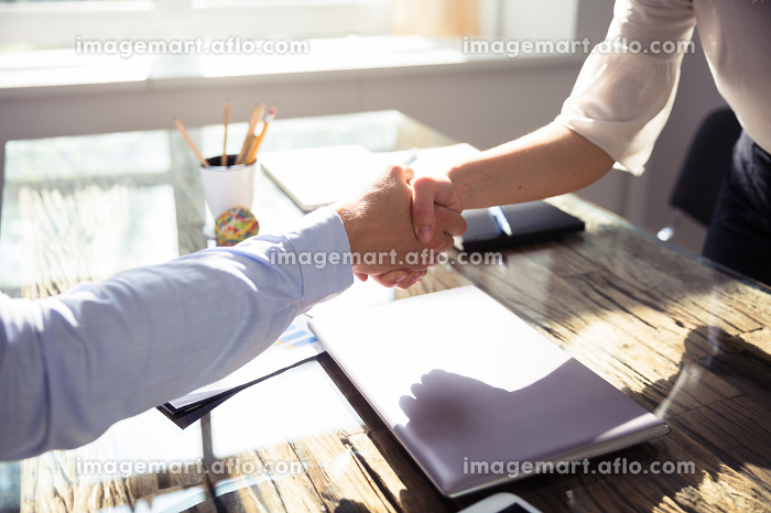 Close-up Of Two Business Partners Shaking Handsの販売画像