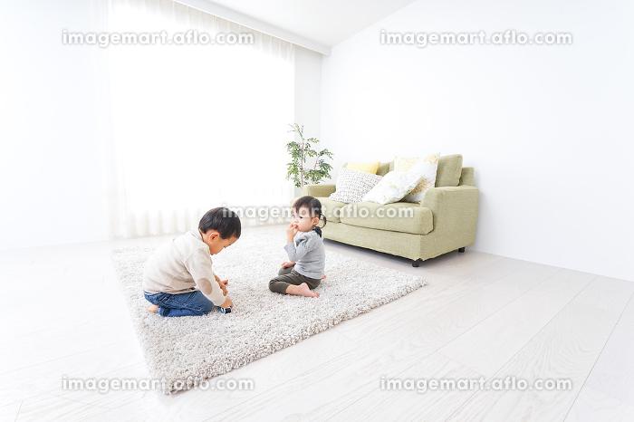兄弟で家で遊ぶ子供の販売画像