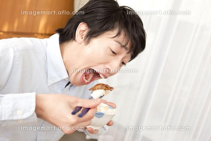 焼肉を食べる男性の販売画像