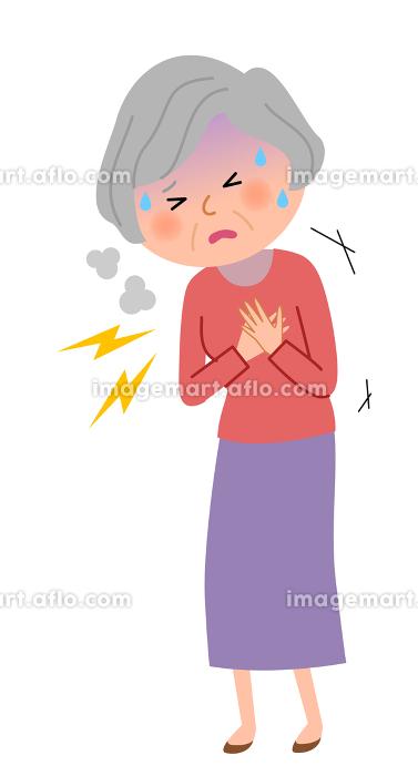 シニア女性 胸 痛みの販売画像