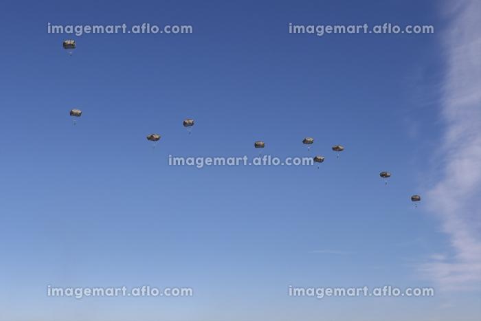 T-11パラシュートで降下するアメリカ軍の兵士(習志野市・千葉)の販売画像