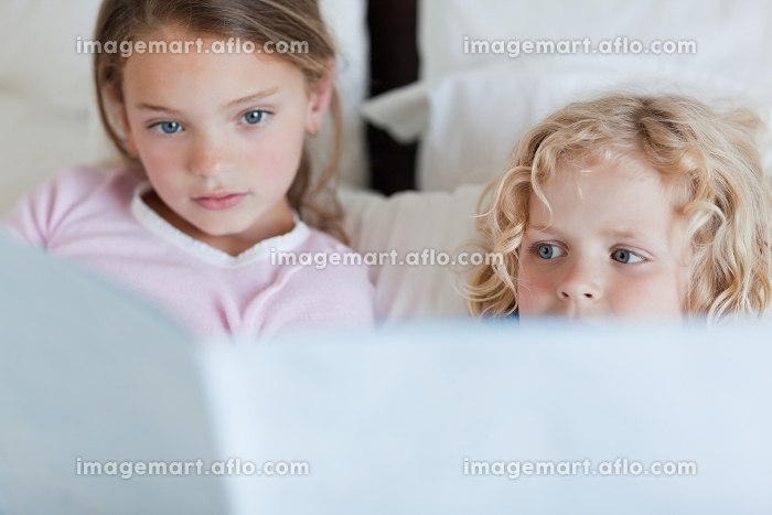 Siblings reading bed time story togetherの販売画像