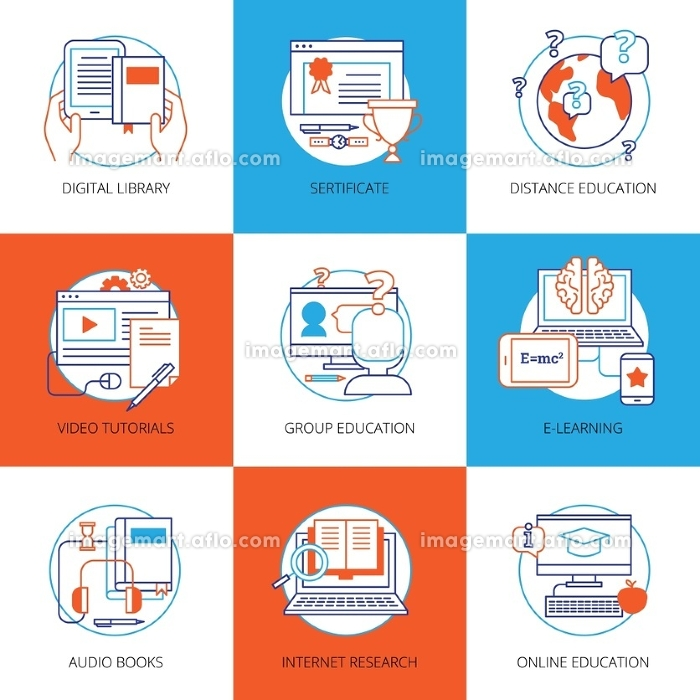 Icons Set On Theme Online Education. Flat color icons set on theme online education with digital library video tutorials internet research audio books isolated vector illustration